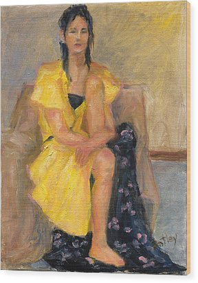 Yellow Dress Wood Print by Rita Bentley