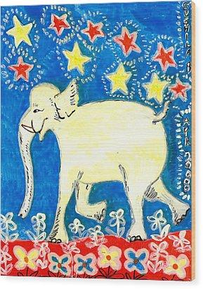 Yellow Elephant Facing Left Wood Print by Sushila Burgess