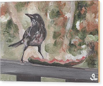 Yellow Eyed Bird Wood Print by Sarah Lynch