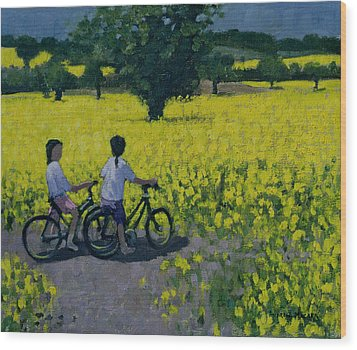 Yellow Field Wood Print by Andrew Macara