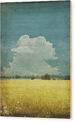 Yellow Field On Old Grunge Paper Wood Print by Setsiri Silapasuwanchai