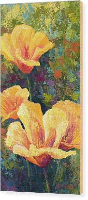 Yellow Field Poppies Wood Print by Marion Rose