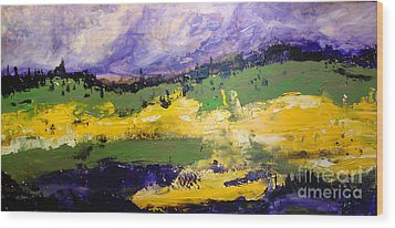 Yellow Fields Wood Print by Maria Curcic