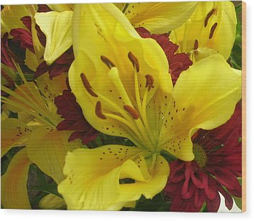Yellow Floral Wood Print by Nancy Ferrier