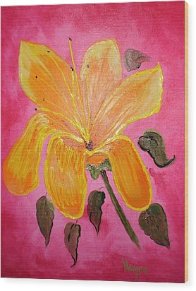 Wood Print featuring the painting Yellow Flower by Barbara Hayes