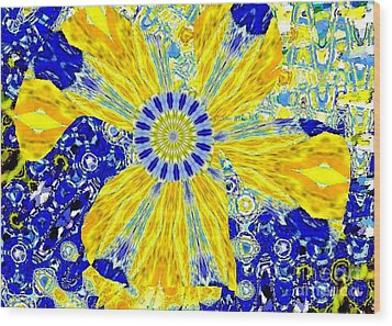 Yellow Flower On Blue Wood Print by Navo Art