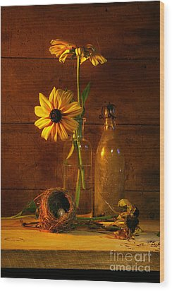Yellow Flower Still Life Wood Print by Sandra Cunningham