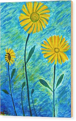 Wood Print featuring the painting Yellow Flowers by John Scates