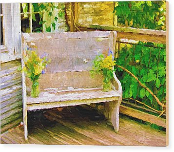 Yellow Flowers On Porch Bench Wood Print
