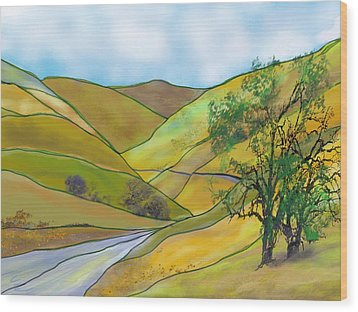 Yellow Foothills Wood Print