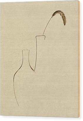 Yellow Foxtail With Vases Wood Print by Tom Mc Nemar