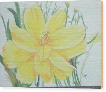 Yellow Garden Flower Wood Print by Hilda and Jose Garrancho