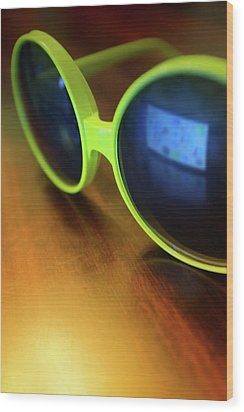 Wood Print featuring the photograph Yellow Goggles With Reflection by Carlos Caetano