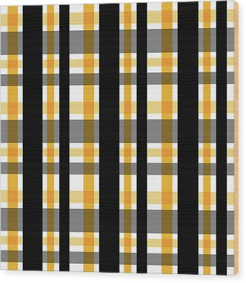 Wood Print featuring the photograph Yellow Gold And Black Plaid Striped Pattern Vrsn 1 by Shelley Neff