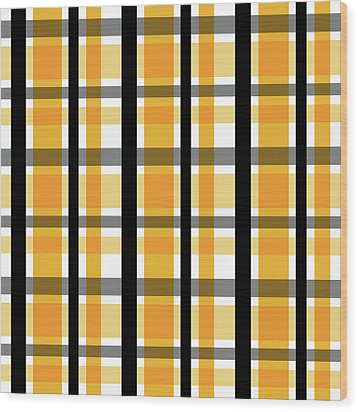 Wood Print featuring the photograph Yellow Gold And Black Plaid Striped Pattern Vrsn 2 by Shelley Neff