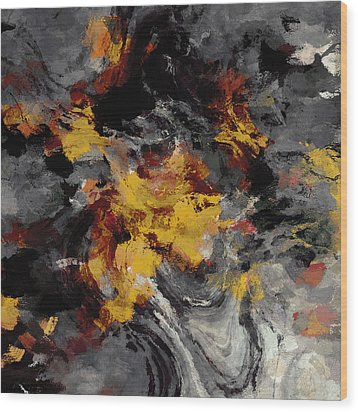 Wood Print featuring the painting Yellow / Golden Abstract / Surrealist Landscape Painting by Ayse Deniz