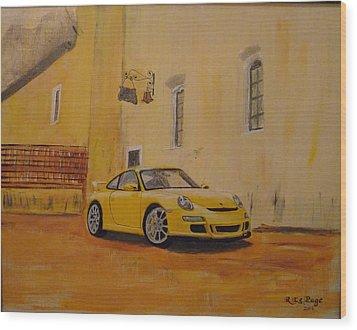 Yellow Gt3 Porsche Wood Print
