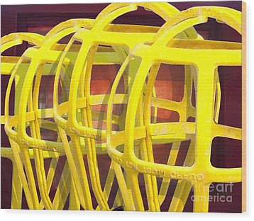Yellow Guard Wood Print by Ron Bissett