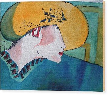 Yellow Hat Wood Print by Jane Ferguson