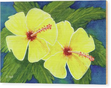 Yellow Hibiscus Flower #292 Wood Print by Donald k Hall