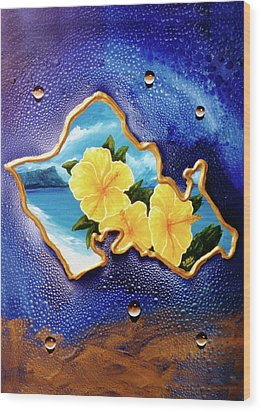 Yellow Hibiscus Hawaii State Flower #142 Wood Print by Donald k Hall