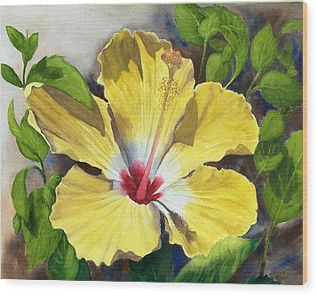 Yellow Hibiscus Wood Print by Robert Thomaston