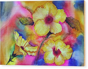Yellow Hibiscus Wood Print by Tina Storey