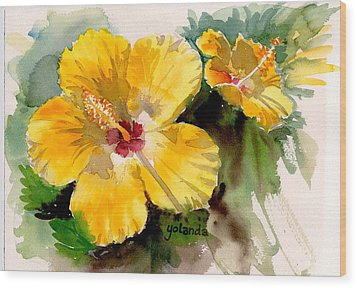 Wood Print featuring the painting Yellow Hibiscus by Yolanda Koh