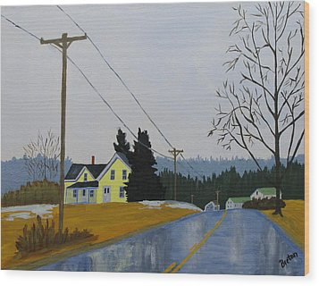 Yellow House In March Wood Print by Laurie Breton