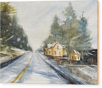 Yellow House On The Right Wood Print by Judith Levins