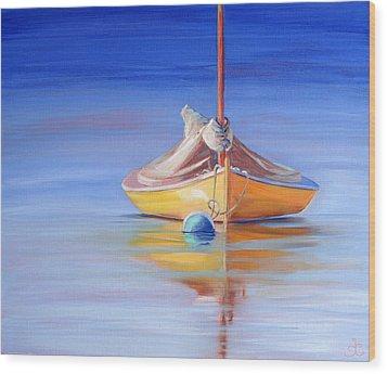Yellow Hull Sailboat Iv Wood Print