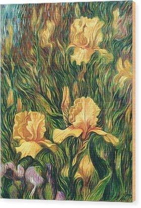Yellow Irises Wood Print