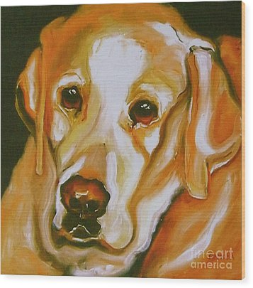 Yellow Lab Amazing Grace Wood Print by Susan A Becker