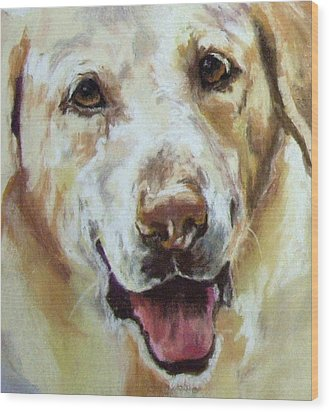 Yellow Lab Wood Print by Debbie Anderson