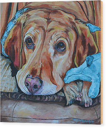 Yellow Lab Wood Print by Patti Schermerhorn
