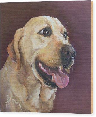 Yellow Labrador Wood Print by Debbie Anderson