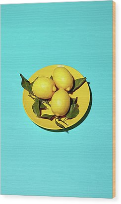 Yellow Lemons On Cyan Wood Print by Oleg Cherneikin