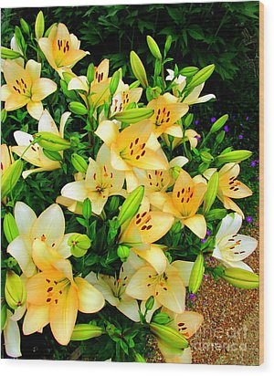 Wood Print featuring the photograph Yellow Lilies 2 by Randall Weidner