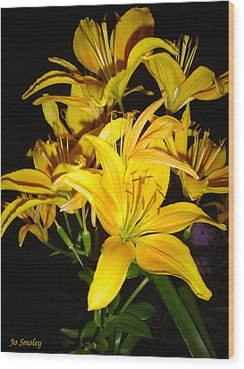 Yellow Lilies Wood Print by Joanne Smoley