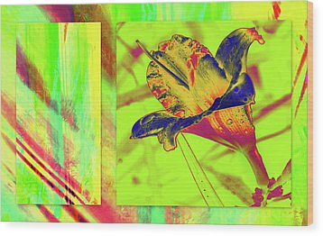 Wood Print featuring the photograph Yellow Lilly Color Palette by Irma BACKELANT GALLERIES