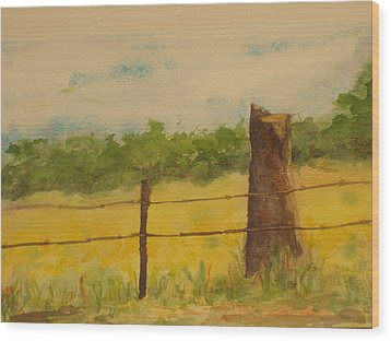 Wood Print featuring the painting Yellow Meadow  by Vicki  Housel