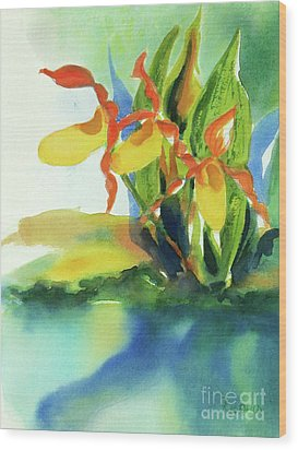 Wood Print featuring the painting Yellow Moccasin Flowers by Kathy Braud