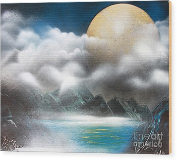 Yellow Moon Wood Print