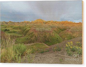 Yellow Mounds Morning Wood Print