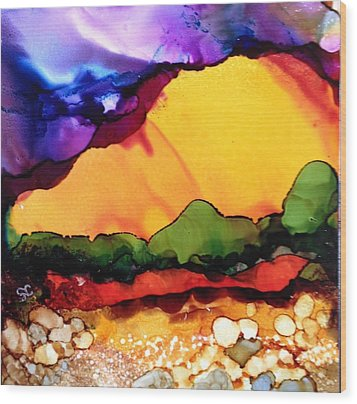 Yellow Mountain Wood Print by Suzanne Canner