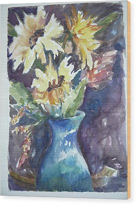 Yellow Mums Wood Print by Dorothy Herron