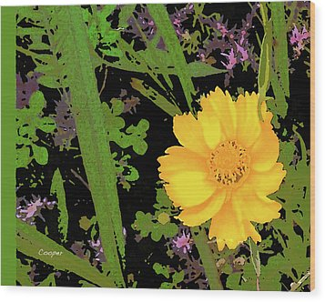 Yellow One Wood Print
