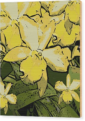 Yellow Orchids Woodcut Wood Print by Ann Tracy