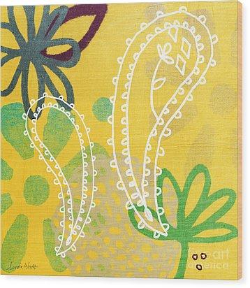 Yellow Paisley Garden Wood Print by Linda Woods