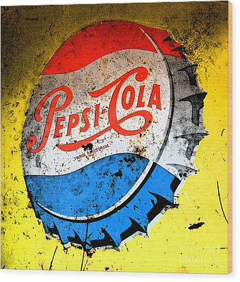 Yellow Pepsi Pop Art Wood Print by Gary Everson